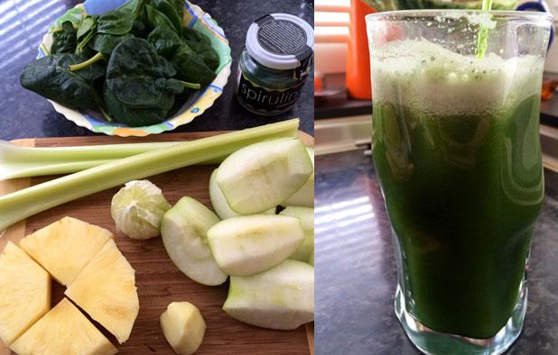 Зелен фреш с ябълки, джинджифил и спирулина