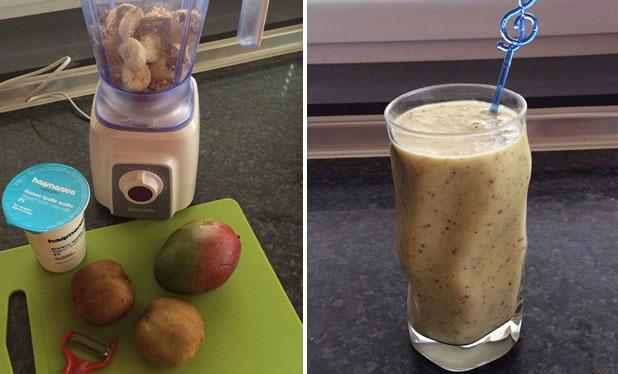 Шейк с кисело мляко и плодове
