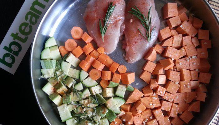 Научи се да готвиш: пилешко със сладки картофи и зеленчуци