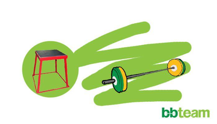 Скок на кутия, щангистко обръщане от вис с подклек и тръстър