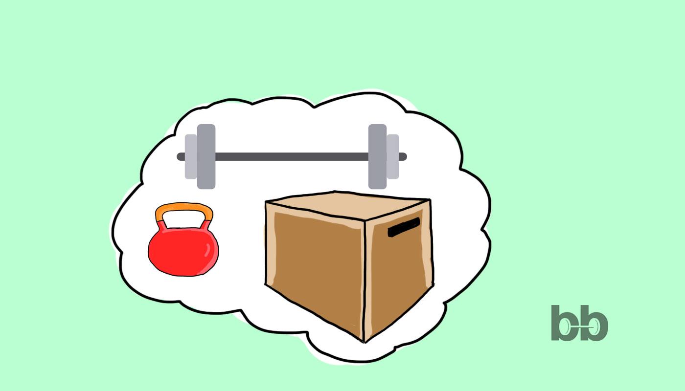 Суинг с пудовка, щангистко обръщане от вис с подклек и скок на кутия