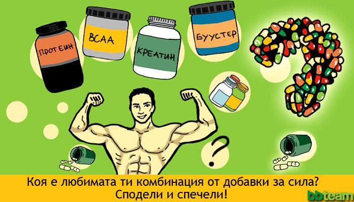 Търсим най-любимата комбинация от добавки за сила и мускулна маса. Сподели и спечели!
